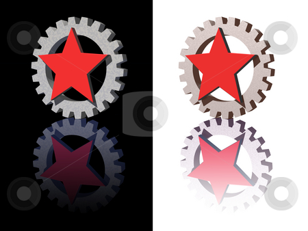 Red star stock photo, Red star and gear logo on white and black background - 3d illustration by J?