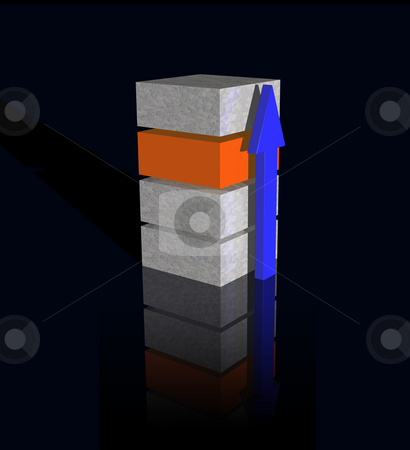 Tower logo stock photo, Bricks and arrow on black background - 3d logo illustration by J?