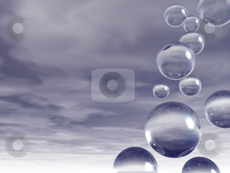 Bubbles stock photo, Flying glass balls in the sky - 3d illustration by J?