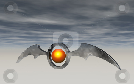 Batwings stock photo, Ring with bat wings  on blue sky - 3d illustration by J?