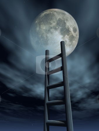 Luna stock photo, Ladder to the moon - 3d illustration by J?