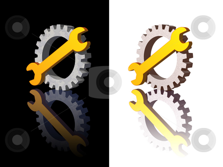 Wrench stock photo, Wrench and gear logo on black and white background - 3d illustration by J?
