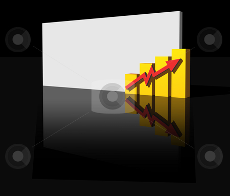 Business graph stock photo, Business graph and blank sign  on black  background - 3d illustration by J?