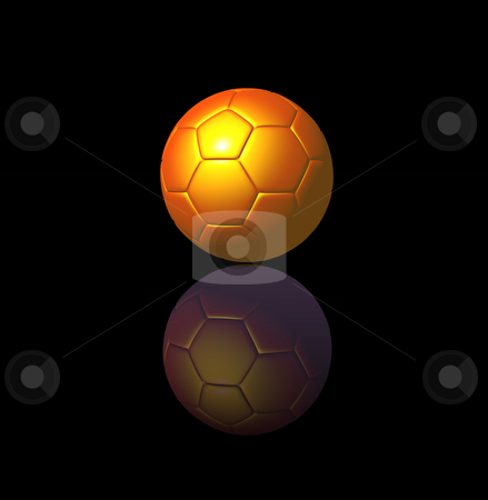 Soccer stock photo, Golden soccer ball on black background - 3d illustration by J?