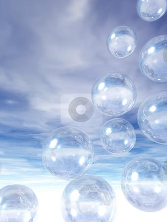 Bubbles stock photo, Flying glass balls on a blue sky - 3d illustration by J?