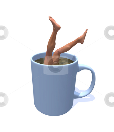 Help stock photo, Mug with human legs - 3d illustration by J?
