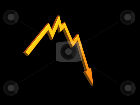 Bad news stock photo, Business graph shows bad news - 3d illustration by J?