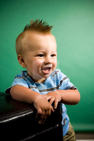 Nine Month Old Boy stock photo, A portrait of a cute nine month old baby boy. by Travis Manley