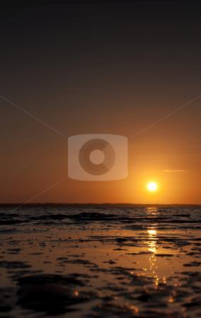 Sunset stock photo, Beach sunset west Denmark by Jesper Klausen
