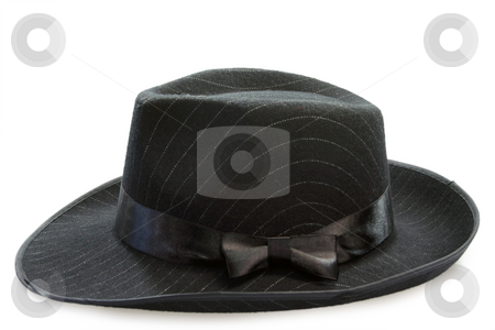 Mens hat stock photo, Black mans hat on white background by Birgit Reitz-Hofmann