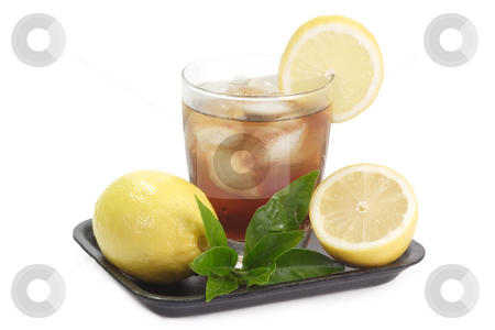Lemon ice tea_3 stock photo, A glass full of Ice Tea with a lemon slice on bright background by Birgit Reitz-Hofmann