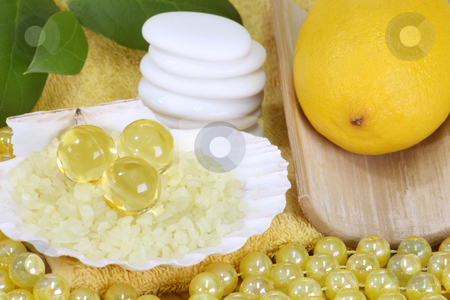 Bodycare stock photo, Sea bath salt and yellow accessories - body care by Birgit Reitz-Hofmann