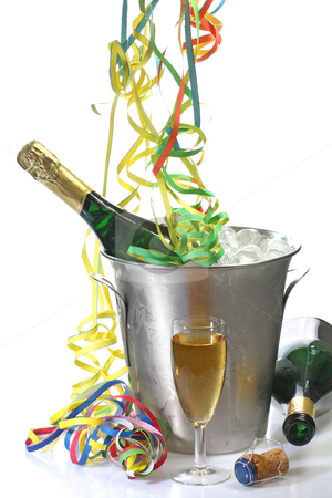 New Years Eve Party stock photo, Champaigne bottle in a cooler with ice and new years eve decoration by Birgit Reitz-Hofmann