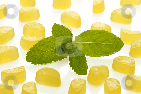 Lemon wine gums stock photo, Brightly coloured wine gums on bright background by Birgit Reitz-Hofmann