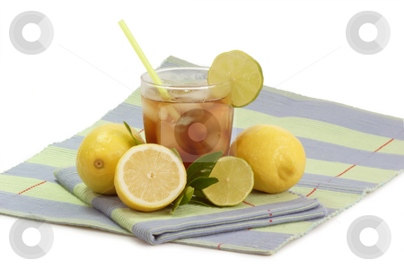 Lemon ice tea_14 stock photo, A glass full of Ice Tea with a lemon slice on bright background by Birgit Reitz-Hofmann