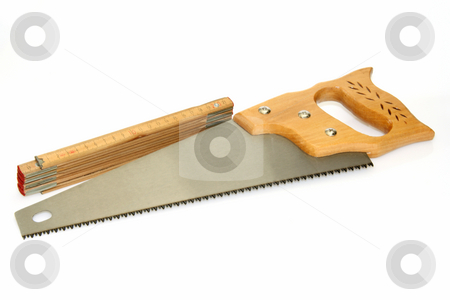 Hand saw stock photo, Tools on bright background. Shot in studio. by Birgit Reitz-Hofmann