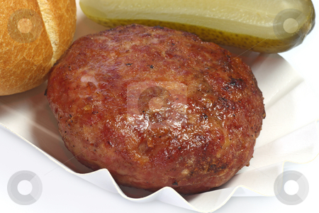 Fried meatball stock photo, Tasty meatball on bright background by Birgit Reitz-Hofmann