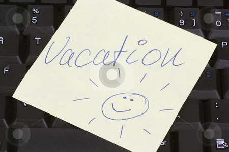 Vacation stock photo, Yellow post it paper on a keyboard with message vacation by Birgit Reitz-Hofmann