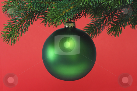 Chrismas ball stock photo, Decorative chrismas ball on red background by Birgit Reitz-Hofmann
