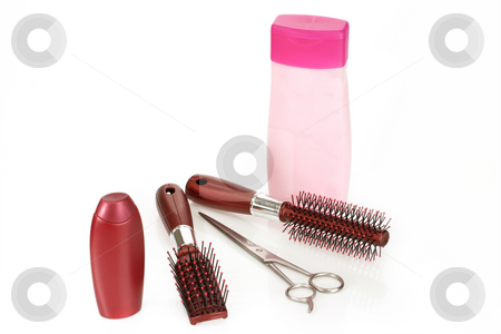 Hair beauty stock photo, Shampoo and hairbrush on bright background by Birgit Reitz-Hofmann