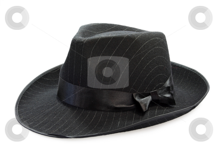Black mens hat stock photo, Black mans hat on white background by Birgit Reitz-Hofmann