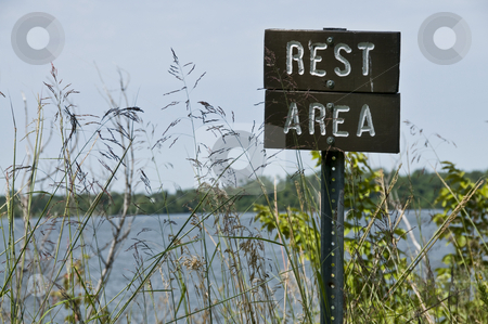 Rest area sign_1 stock photo, Low angle view of a