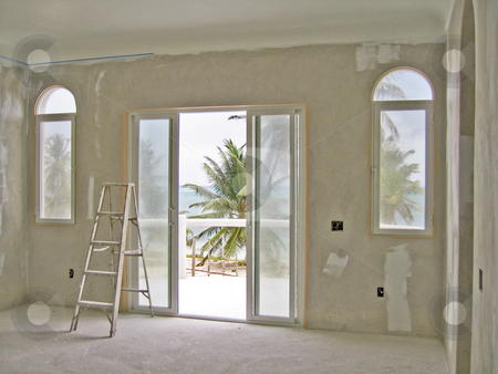 Unfinished living room stock photo, Unfinished living room showing its cement structure by Shi Liu