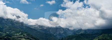 Panoramic landscape stock photo, Panoramic landscape of Lescun in French Pyrenees by Laurent Dambies