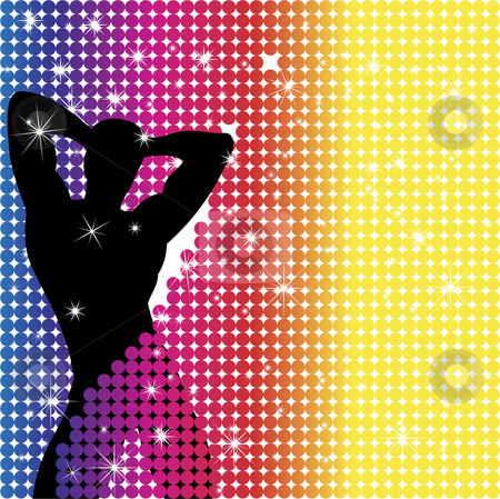 Boy Party Rainbow Dots stock vector clipart, Grunge Background with Party Boy Silhouette with Stars by AUGUSTO CABRAL