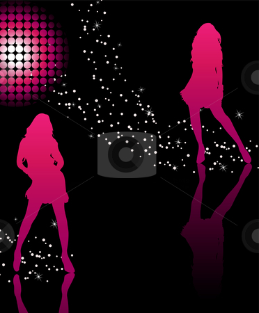 Girls Dancing stock vector clipart, Girls dancing on glossy floor with stars and pink disco ball by Augusto Cabral Graphiste Rennes