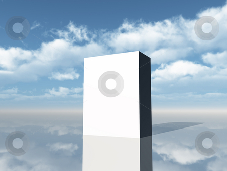 Packing stock photo, White box in front of cloudy sky - 3d illustration by J?