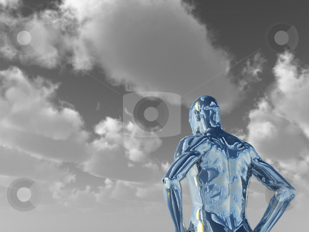 Chrome man figure stock photo, Abstract man figure - 3d illustration by J?
