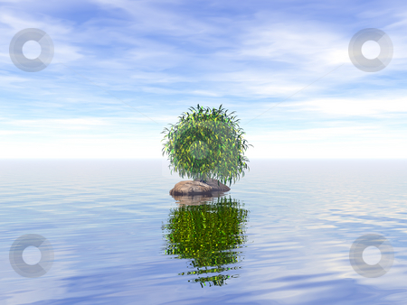 Lonely tree stock photo, Lonely tree at water - 3d illustration by J?