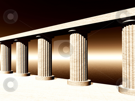 Atlantis stock photo, Old pillars at the ocean - 3d illustration by J?