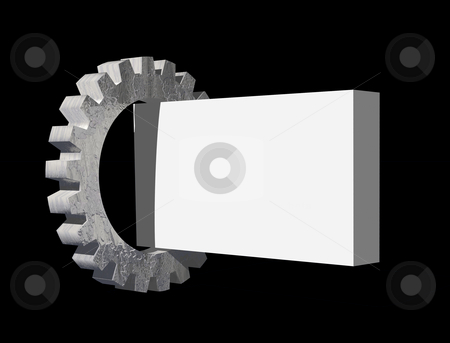 Gear and blank sign stock photo, Gear and blank box on black background - 3d illustration by J?