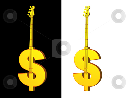 Music business stock photo, Golden dollar bass on black background - 3d illustration by J?