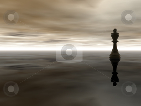 Chess king stock photo, Black chess king on cloudy stormy background - 3d illustration by J?