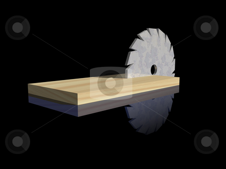 Carpenter logo stock photo, Saw blade and wood on black background - 3d illustration by J?