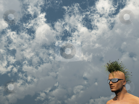 Nature punk stock photo, Human head with grass mohawk hair - 3d illustration by J?