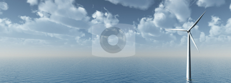 Wind power stock photo, Wind mill at water landscape - 3d illustration by J?