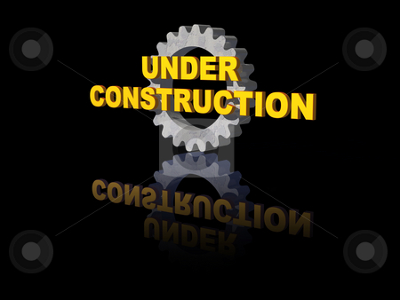 Under construction stock photo, Under costruction text and gearwheel on black background - 3d illustration by J?