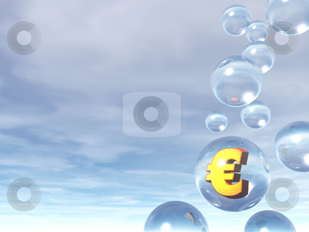 Euro stock photo, Bubbles and golden euro sign - 3d illustration by J?