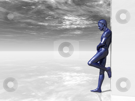 Think about stock photo, Blue human man figure on big blank box - 3d illustration by J?