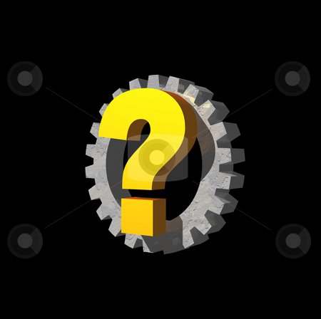 Quest stock photo, Question mark and gearwheel on black background - 3d illustration by J?