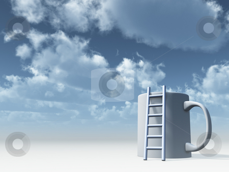 Coffee stock photo, Ladder on mug in front of cloudy sky - 3d illustration by J?