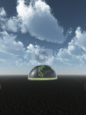 Safe stock photo, Tree under a glass dome - 3d illustration by J?