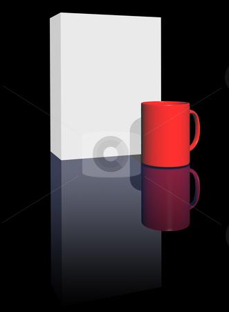 Blank box and mug stock photo, Blank box and mug on black background - 3d illustration by J?