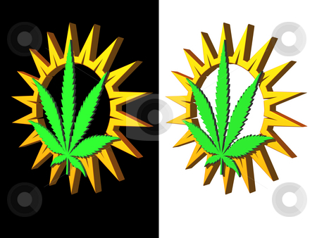 Hemp stock photo, Simple sun and hemp symbol on black and white background - 3d illustration by J?
