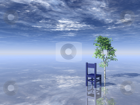 Tree and chair stock photo, Chair and tree on cloudy background - 3d illustration by J?