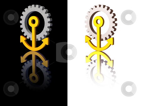 Anchor stock photo, Anchor gear logo on black and white background - 3d illustration by J?